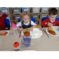 Enjoying our first hot lunch.