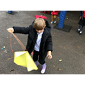 Making kites on a windy day.