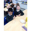 Building a triangles with sticks and marshmallows.
