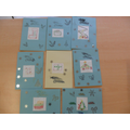 Our Christmas cards showing our sewing skills