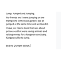 Evie's paragraph using 'jump, jumped and jumping'