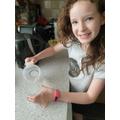 Imogen creating her crystals