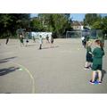 Practising ball skills.