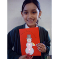 Finished Christmas Card with lights using an electrical circuit.