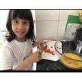 Zahra making breakfast!