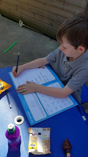 Home learning in the sunshine.