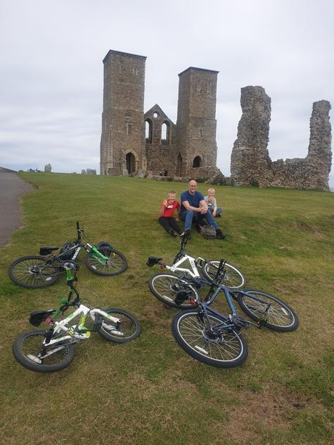 Harry enjoys a bike ride to Reculver