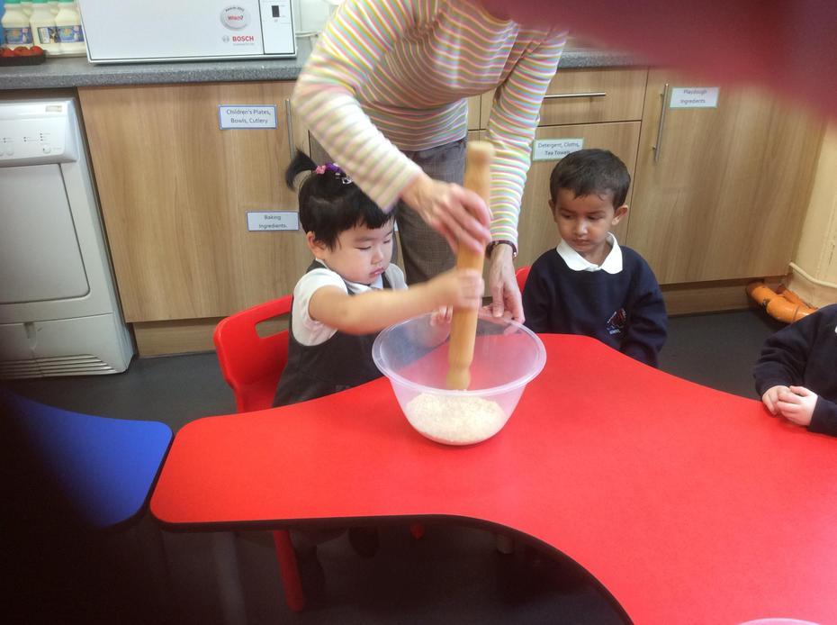 Crushing the porridge oats.