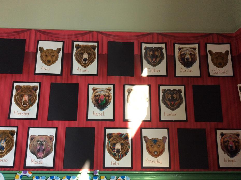 Our bears are displayed in the classroom.