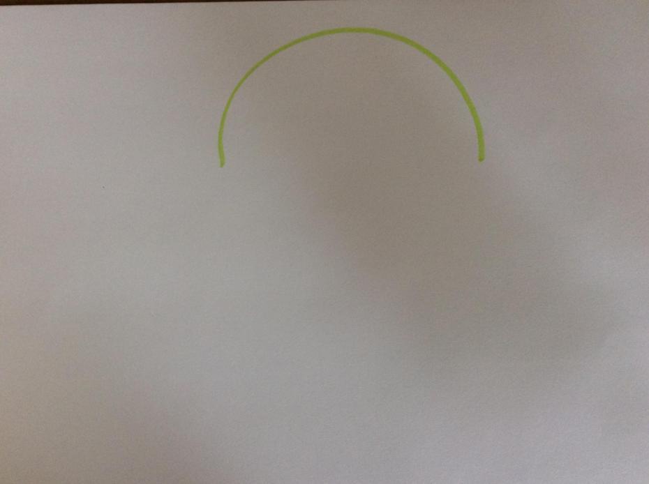 Draw one large semi circle head.
