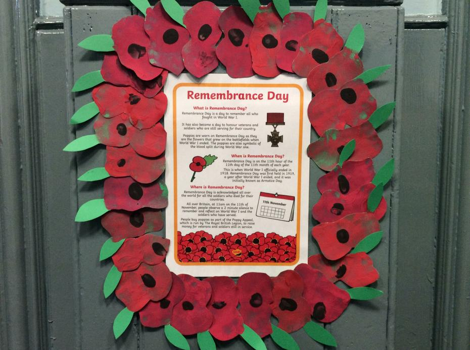 Our Remembrance Day poppy wreath.