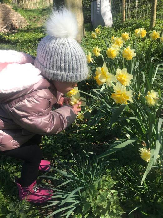 Smelling flowers that we find on our daily walks