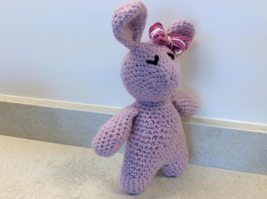 This is my first crocheted rabbit, she doesn't have a name yet.