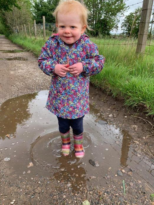 Splashing in muddy puddles!