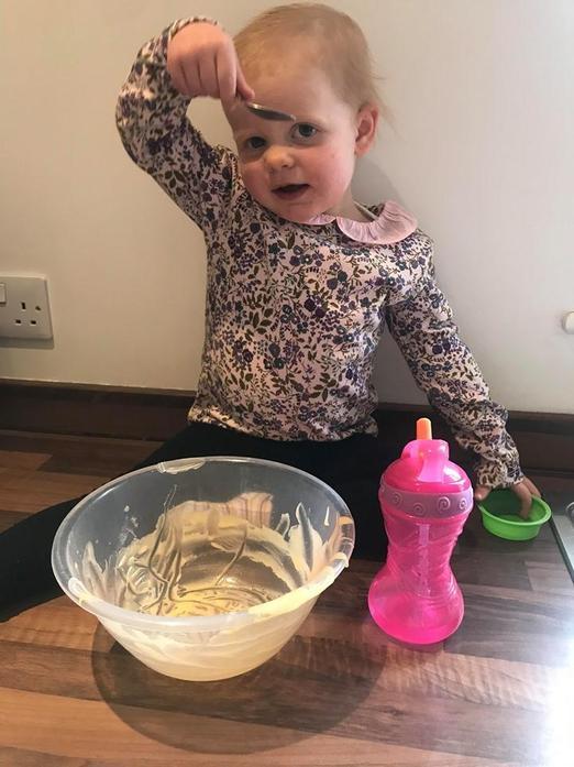 Ivy enjoyed helping me bake some cupcakes!