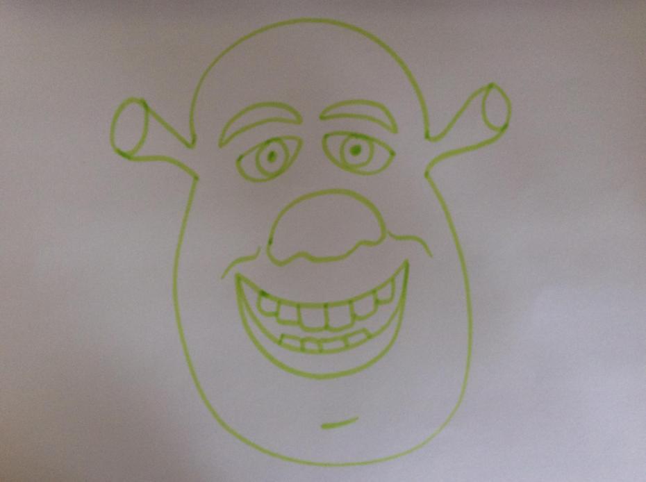 Draw pupils in the eyes, Shrek!