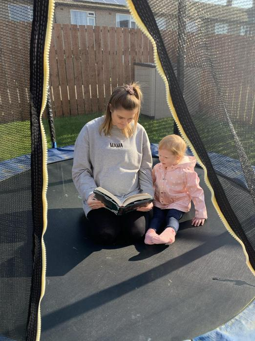Joining me for a read on the trampoline whilst it's nice and sunny :)