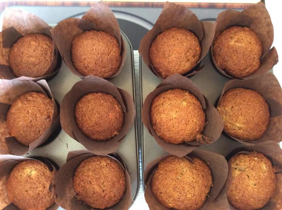 Today I baked some of our banana muffins, yummy!