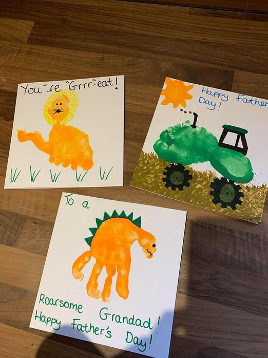 We made Father's Day cards using paint and pens.