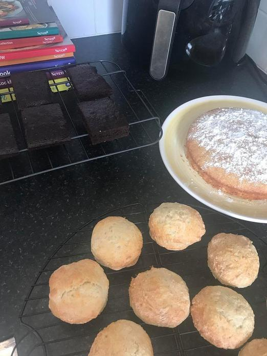 Baking a cake and yummy scones!