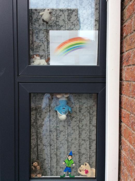 Look I have put my elf, Eddie in my window.