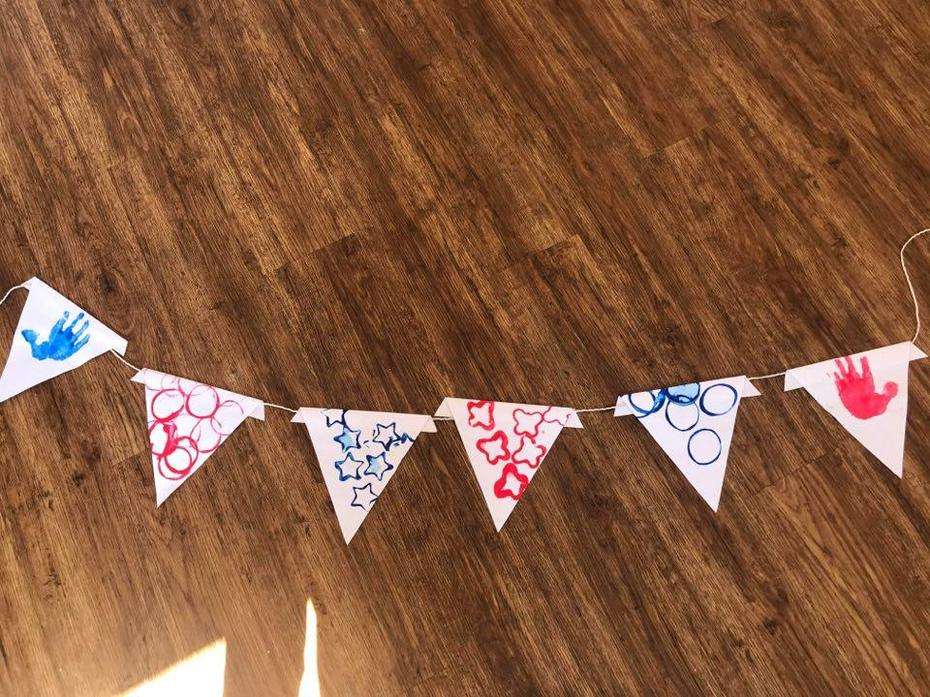 Ivy and I made some VE Day bunting using paints!