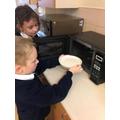 Y3 Enjoying making porridge