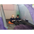 Camping out with a good book in Y1