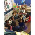Miss Masterson reading Wonder to RK