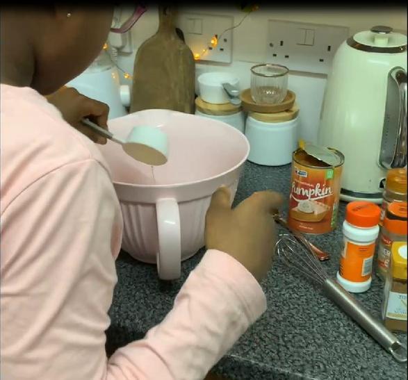 Making Pumpkin Loaf Cake.