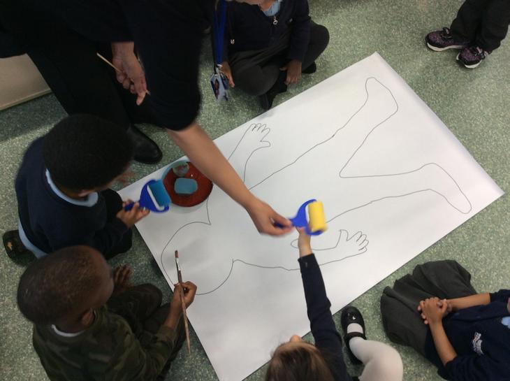 We drew a big gingerbread man.