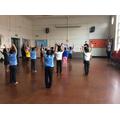 We practised stretching.