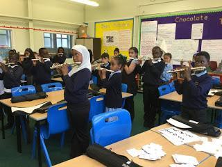 Y4 are learning to play flutes.