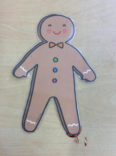 We looked at a picture of a gingerbread man.