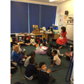 Mrs Rogerson reading Little Red Riding Hood to RH