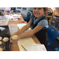 Rolling the dough into rolls