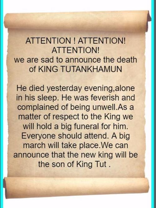 Death announcement of Tutenkhamun by Aleena Irfan