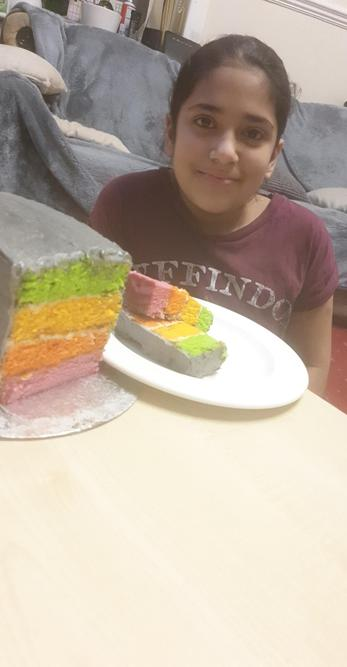 This rainbow cake looks delicious! Well done.