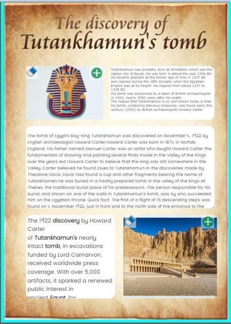 Discovery of Tutunkhamun's tomb by Safa Noor Zaman
