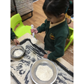 We can use language related to size when putting porridge in the 3 Bear's bowls.