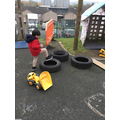 We have used an obstacle course to help us understand prepositions.