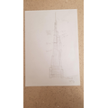 Art inspired by Gaudi- building design sketch