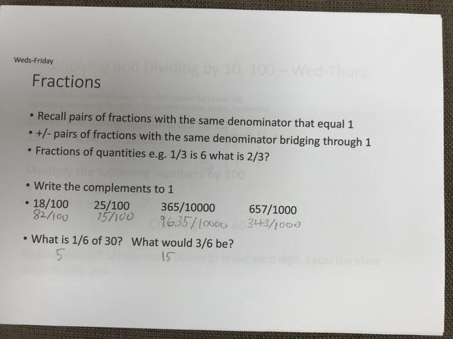 Fractions - complements to 1 whole