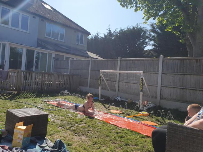 Family fun - water challenge in the sunshine