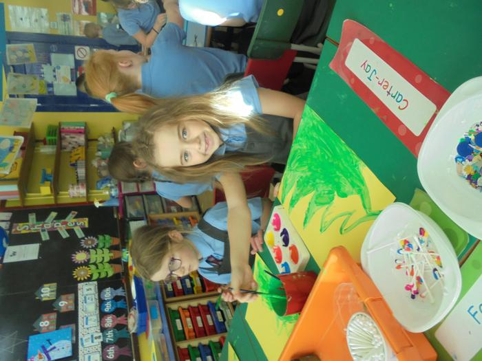 We painted and decorated Christmas trees.