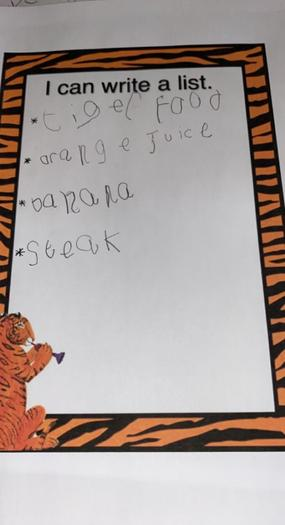 Writing shopping lists for the Tiger Who Came To Tea