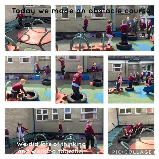 P1 McN were very busy today making an obstacle course.