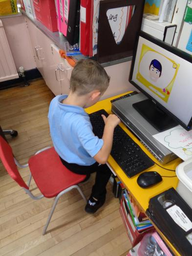 Using the key board to type our names.