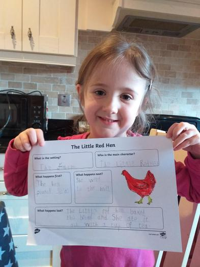 A champion with her Little Red Hen story board completed!