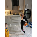 Wow amazing ball skills in the kitchen!
